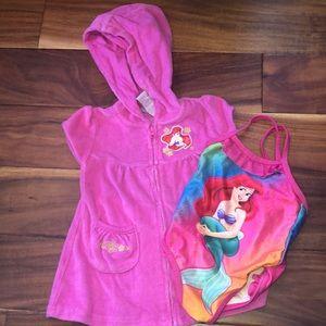 Disney Little Mermaid Ariel terrycloth + swim set